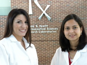 <p>Pharmacy graduate students Kristyn Greco, left, and Archana Rawat. Photo by Elizabeth E. Anderson</p>