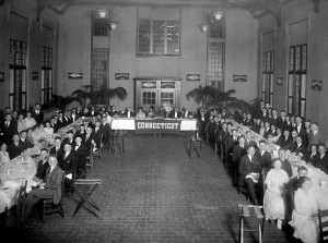 <p>President and Mrs. Beach preside at the head table of the Junior Class Banquet in the Dining Hall known as the Beanery, in early 1921. Provided by Diane Lewis-Benton Museum</p>