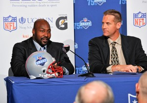 <p>Scottie Graham, left, director of player marketing and engagement for the NFL Players Association, and Scott Paddock, director of sports marketing for Gatorade at a press conference announcing the formation of the Korey Stringer Institute. Photo by Peter Morenus</p>