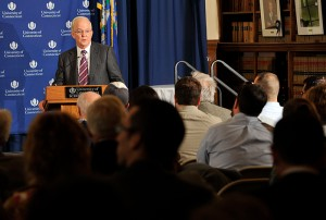 <p>President Michael Hogan speaks during the gubernatorial debates held at the William H. Starr Reading Room at the Law School.</p>