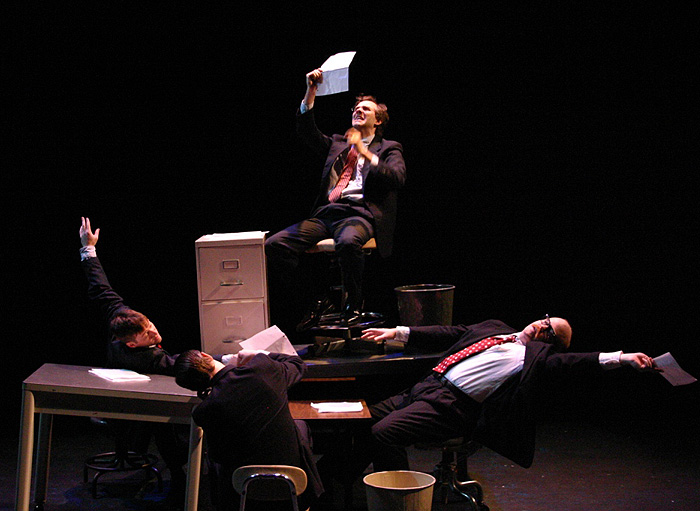 <p>Office gymnastics meets Antarctic exploration in the unlikely setting of a Hartford insurance office, as Split Knuckle Theatre brings the world premiere of 'Endurance' to Storrs. Presented by the Connecticut Repertory Theatre as part of its Nutmeg Summer Series, June 24-27 in the Nafe Katter Theatre. Photo provided by Split Knuckle Theatre</p>