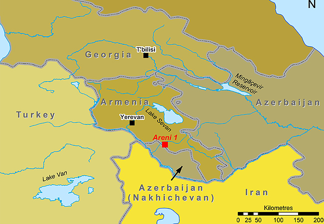 <p>A map showing Armenia and the location of the Areni-1 archaeological dig. Map supplied by University College Cork</p>