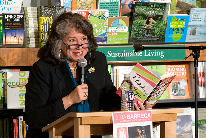 <p>Gina Barecca debuts her latest book 'It's Not That I'm Bitter...' in the Co-op. Photo by Frank Dahlmeyer</p>