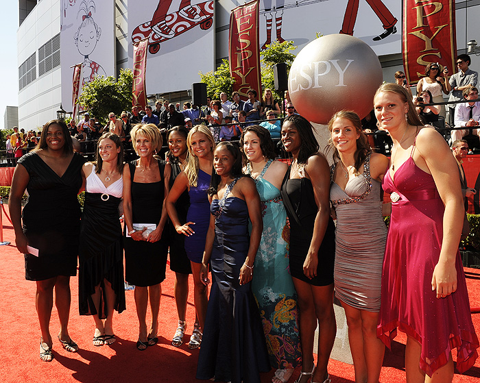 <p>The UConn women's basketball team walks the red carpet July 14, before the 2010 ESPY Awards in Los Angeles. The team was nominated for eight ESPYs, including Best Team, which was won by the New Orleans Saints, the NFL Super Bowl Champions. Senior Maya Moore won the ESPY as Best Female College Athlete and former Husky star Diana Taurasi of the Phoenix Mercury won the ESPY as Best WNBA Player. Photo by Rich Arden</p>