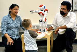 <p>Anjana Bhat, left, CHIP principal investigator and assistant professor of kinesiology, PI on the grant. She is shown with Aiden Krane, center, and Timothy Gifford, director of CHIP's Advanced Interactive Technologies Center and co-investigator on the grant. Photo by Sheila Perretta</p>