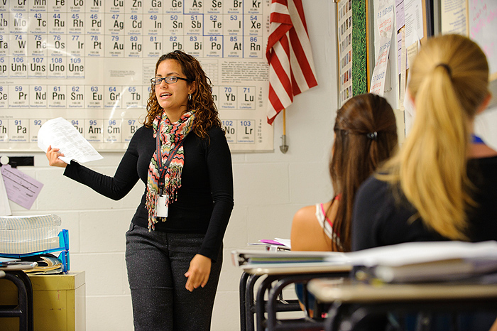 <p>Lorna Carrasquillo, a graduate student in Education, is a student teacher of science classes at Newington High School. Photo by Peter Morenus</p>