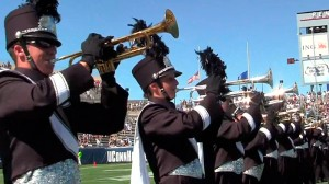 <p>UConn Marching Band Tumpets playing. Photo supplied by Bret Eckhardt</p>