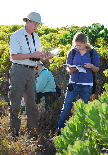 <p>Carl Schlichting works with students in the Karoo ecosystem in South Africa. Photo by Jessica Offir</p>