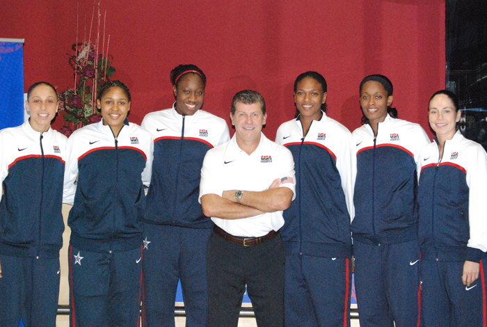 <p>The USA Basketball Women's Basketball Team, led by UConn head women's coach Geno Auriemma and six current and former Huskies, won the 2010 FIBA World Championship on Sunday, defeating host Czech Republic 89-69.      From left: Diana Taurasi '05, Maya Moore '11, Tina Charles '10, Geno Auriemma, Asjha Jones '02, Swin Cash '02, and Sue Bird '02.  Taurasi was named to the five-member All-World Championship Team. Photo by USA Basketball</p>