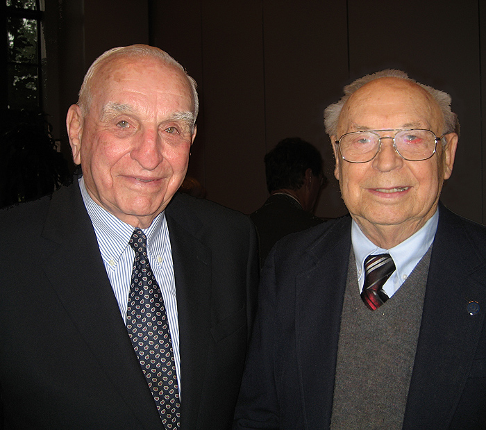 <p>Charles J. Zwick '50, '51, left, with his UConn roommate from 60 years ago, Bernard Dzielinski '50, '52, at the UConn Foundation Tuesday to mark Zwick's $1 million gift to the College of Agriculture and Natural Resources.   </p>