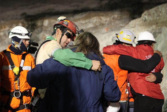 <p>Florencio Avalos, 31, becomes the first miner to exit the Phoenix rescue capsule after an accident trapped 33 miners for 68 days in the San Jose mine near Copiapo, Chile the night of October 12, 2010.. Photo by Hugo Infante/Government of Chile</p>