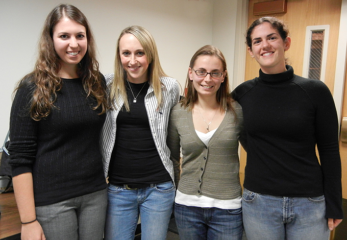 <p>Four recent UConn graduates of the Professional Science Master's in Applied Genomics who all have jobs jobs at Affomix, a biotech company, share their experiences with current students in the program. Photo by Christine Buckley</p>