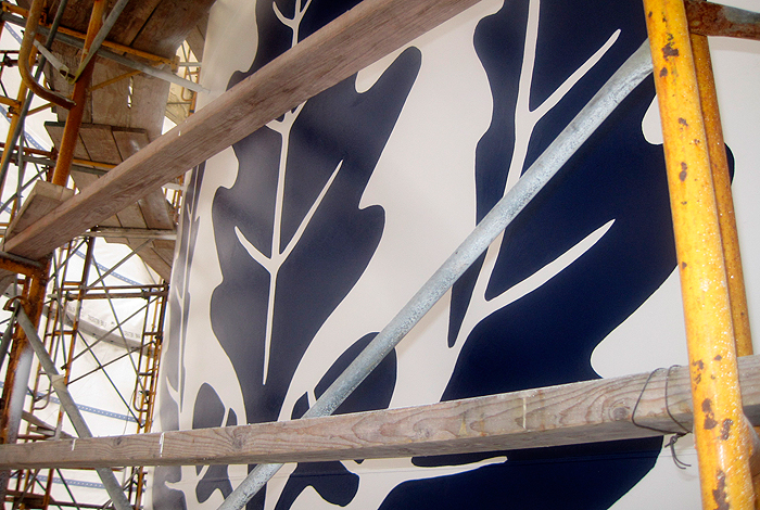 <p>Visitors to campus will soon be greeted by a giant UConn logo being painted on the new water tower between Husky Village and the Towers residence hall.</p>