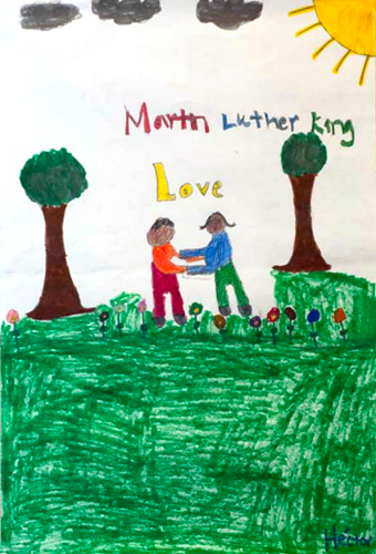 <p>Submissions to a poster contest for the UConn Martin Luther King Jr. Day. Artwork by Hector Carrion, American School for the Deaf, grade 6.</p>