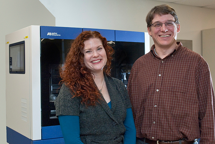 <p>Associate Professor Rachel O'Neill and her graduate student Mark Longo. Photo by Dan Buttrey.</p>