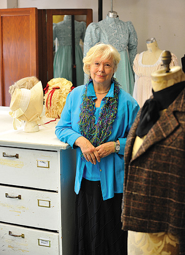 <p>Laura Crow, professor of Dramatic Arts, at the costume shop at the Jorgensen Center for the Performing Arts. Photo by Peter Morenus</p>