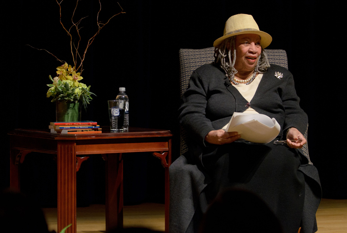 <p>Toni Morrison, the Nobel and Pulitzer prize-wining author speaks at the Student Union Theatre. Photo by Peter Morenus.</p>