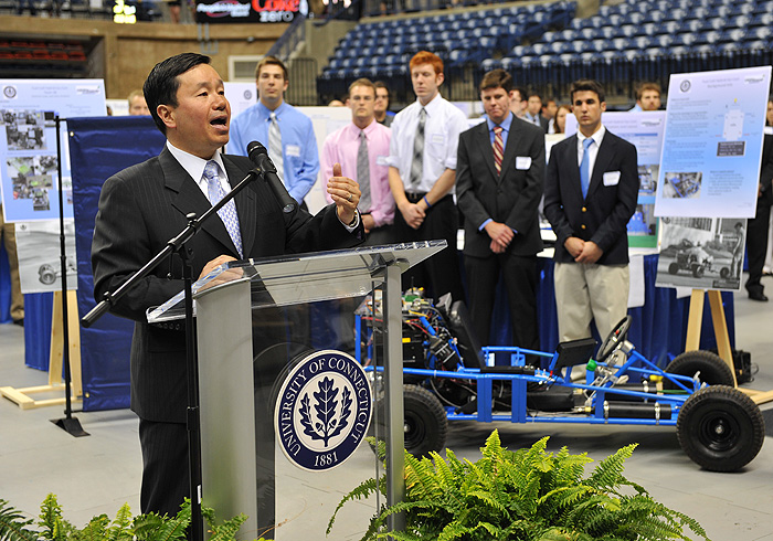 <p>Mun Y. Choi, dean of Engineering speaks at a press conference held at Gampel Pavilion to announce a proposed technology park. Photo by Peter Morenus</p>