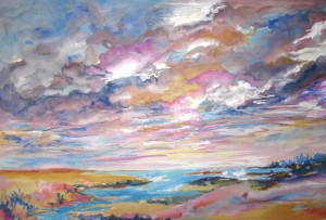 Painting by Sharon Kocay, on display at the UConn Health Center. (Photo provided by UConn Health Center Auxiliary)