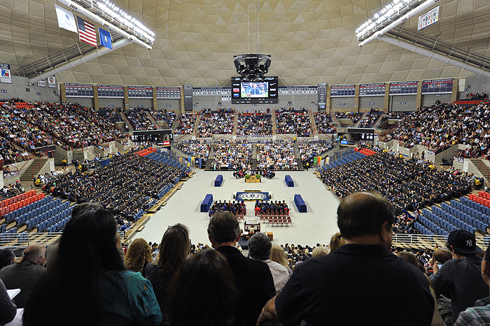 <p>A view of Gampel Pavilion during  the second CLAS commencement ceremony. Photo by Peter Morenus</p>