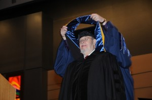 Dr. Charles Burstone, honorary degree recipient at the Health Center's commencement ceremony.