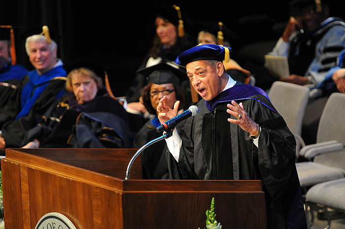 <p>Pedro Segarra, MSW '82 and Mayor of Hartford, speaks at the University of Connecticut School of Social Work Recognition Ceremony at the Jorgensen Center for the Performing Arts. Photo by Jessica Tommaselli</p>