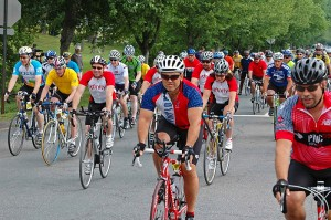 Cyclists in the 2010 Calhoun Challenge Ride and Walk on June 12, 2010. (Daniel A Mercado for UConn Health Center)