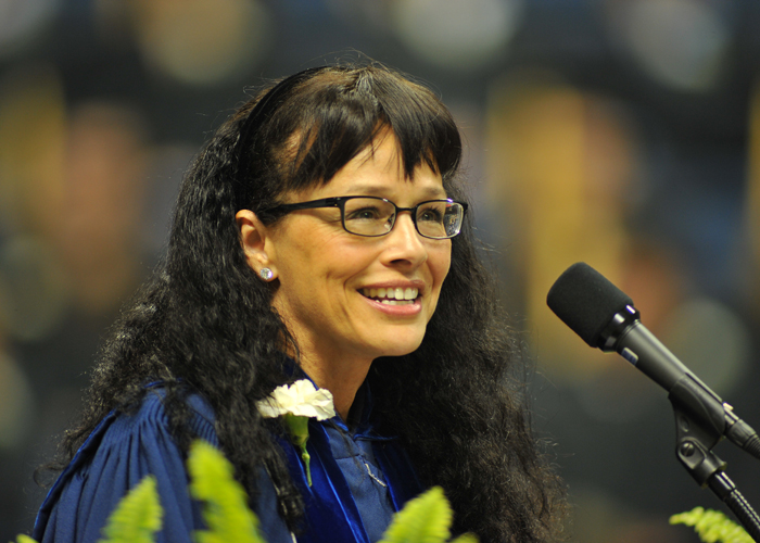 Andrea Dennis LaVigne gives the CANR Commencement address at Gampel Pavilion in May 2011.