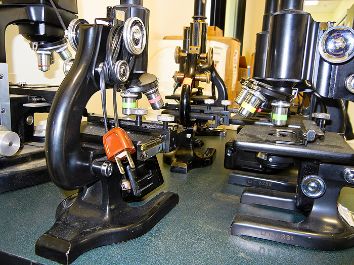 Old microscopes for sale at the Surplus Store.