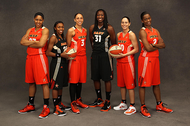 The 2011 WNBA All-Star game in San Antonio on July 15 served as a reunion for six former Huskies. From left: Maya Moore'11 (CLAS) of the Minnesota Lynx, Renee Montgomery '09 (CLAS) of the Connecticut Sun, Diana Taurasi ''05 (CLAS) of the Phoenix Mercury, Tina Charles '10 (CLAS) of the Connecticut Sun, Sue Bird '02 (CLAS) and Swin Cash '02 (CLAS), both of the Seattle Storm. Cash was named the Most Valuable Player of the WNBA All-Star Game. During a separate ce4remony noting the league's 15th year, Bird and Taurasi were honored as two of the Top 15 players of all-time.