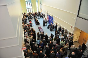 A view of the dedication ceremony for the new Classroom Building.