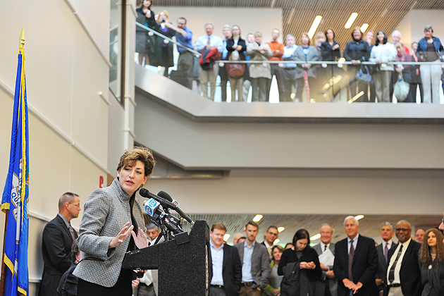 President Susan Herbst speaks at the dedication ceremony for the new Classroom Building.
