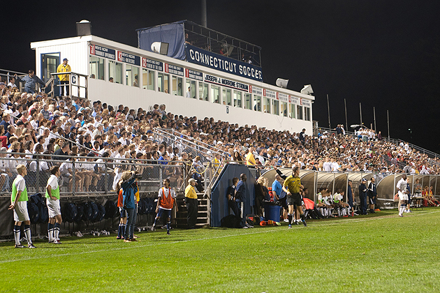 A sell-out crowd of more than 5,000 fans supported the Huskies men's soccer team at Joseph J. Morrone Stadium in the Big East Conference opener in 2011. The stadium is one of the most attended soccer venues in the country. (Stephen Slade for UConn/File Photo)
