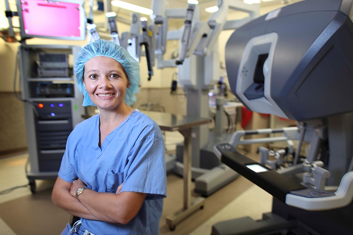 Dr. Angela Kueck, gynecologic oncologist at the UConn Health Center, is interviewed on NBC Connecticut about ovarian and cervical cancer and the robotic surgical system that is now being used to treat these cancers. (Michael Fiedler for UConn Health Center)