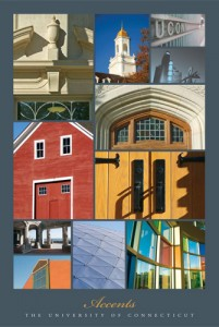 Accents, one of three posters showing aspects of UConn's art and architecture.