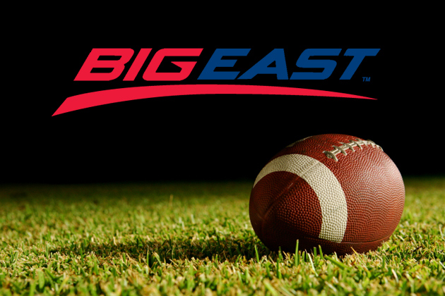 Big East logo with football on field