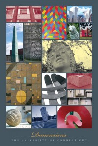 Dimensions, one of three posters showing aspects of UConn's art and architecture.