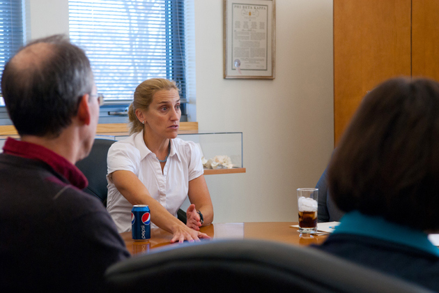 Mikki Hebl speaks with the ALTERR committee, a faculty group focused on discrimination, in the CLAS Dean's Office on Oct. 17, 2011. (Ariel Dowski/UConn Photo)