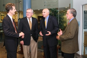 Chatting before the Myles Martel Lecture in Leadership are, from left, humor expert John Morreall, former UConn president Philip Austin, alumus Myles Martel, and CLAS dean Jeremy Teitelbaum. (Tina Covensky for UConn)
