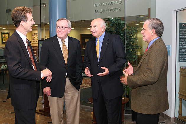 Chatting before the Myles Martel Lecture in Leadership are, from left, John Morreall, former UConn president Philip Austin, alumus Myles Martel, and Dean Jeremy Teitelbaum. (Tina Covensky for UConn)