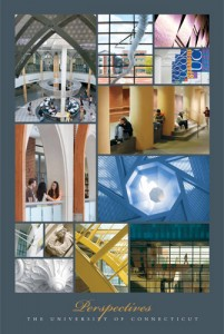 Perspectives, one of three posters showing aspects of UConn's art and architecture.