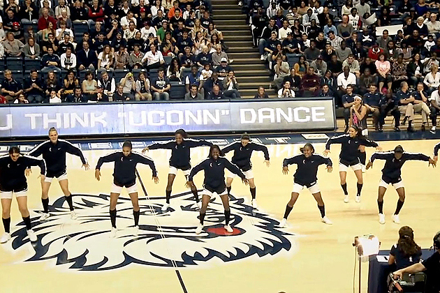 The women's basketball team demonstrate their dance moves during First Night festivities.