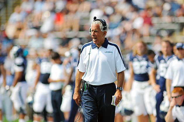 Head Coach Paul Pasqualoni on the sidelines during the football game against Fordham at Rentschler Field on September 3, 2011. UConn won 35-3. (Peter Morenus/UConn Photo)