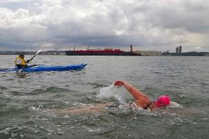 Elizabeth Fry swims along the Bay Ridge Flats south of Governors Island. (Vladimir Brezina photo)