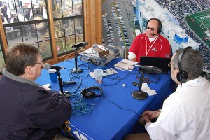Bob Joyce, center, during the Reporter's Roundtable on the pre-game show with Ken Davis of FOXSports.com, left, and Joe Perez of the Norwich Bulletin.