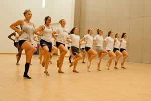 The UConn dance team practices in the Student Union on Nov. 29, 2011. (Max Sinton for UConn)