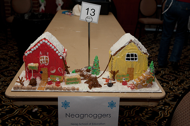 The Neag School of Education team, the Neagnoggers, won first place in the 2011 Gingerbread House Contest, part of the Winter Holiday Celebration at Rome Ballroom on Dec. 7. (Sean Flynn/UConn Photo)