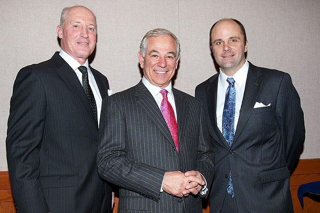 The 2012 Huskies Baseball Preseason Dinner featured a keynote address by new Boston Red Sox manager Bobby Valentine and the presentation of the 2012 UConn Baseball Alumni Award to Roger Bidwell '78(ED), '84 (MA), head coach of the UConn Avery Point baseball team.