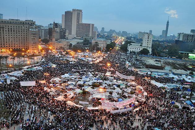 Arab Spring - Tahrir Square - February 9, 2011. Over 1 Million in Tahrir Square demanding the removal of the regime and for Mubarak to step down. (wikimedia.org)