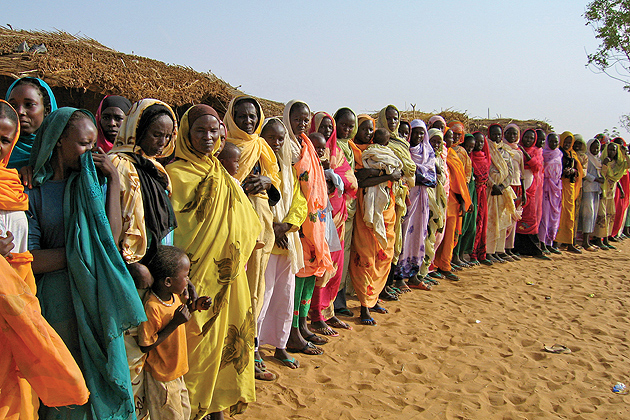 Women gather to request a well from UNICEF in Galap in South Darfur, Sudan, 2006